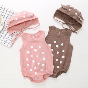 Лето Romper младенца Новорожденный Маленький Dot Print + с капюшоном без рукавов комбинезона хлопка для новорожденных детей Скалолазание Одежда