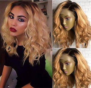 Ombre 180% Density Silk Top Lace Front Human Hair Wigs for Women 1bT27# Honey Brown 4x4 Silk Base Lace Front Bob Wig Remy Hair