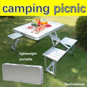 Aluminium tragbarer Falten Camping Picknick-Tisch mit 4 Sitzplätzen im Freien Garten