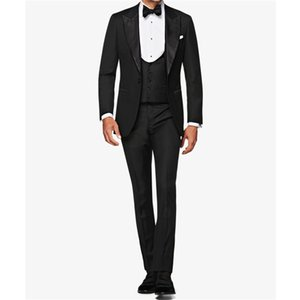 Handsome One Button Groomsmen Peak Lapel Groom Tuxedos Mens Wedding Dress Man Jacket Blazer Prom Dinner suits (Jacket+Pants+Tie+Vest) W56