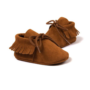 Baby Boy Girl Moccasins Moccs Shoes First Walkers Fringe Soft Soled Non-slip Footwear Crib Shoes PU Suede Leather Newborn
