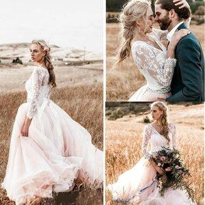 세련된 라인 라이트 핑크 비치 웨딩 드레스 V 목 긴 소매 최고 레이스 나라 웨딩 드레스 Tulle 스커트 라인 석 신부 드레스