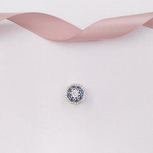 Otantik 925 Gümüş Boncuk Mavi Sparkle Çiçek Charm Charms Avrupa Pandora Stil Takı Bilezikler Kolye 797851NMB uyar