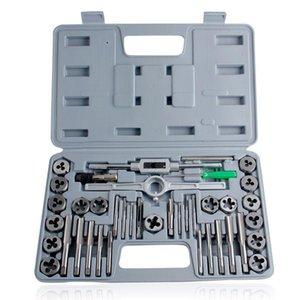 40pcs Tap Die Set Vissez à la main plug Taps Poignée en acier allié pouces Threading outil avec étui