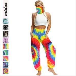 Tie-dye Mandala Bloomers Bohemian Flower pantaloni Ragazze Beach Resort Knickers Pocket protezione solare Pantaloni Yoga Danza sportiva Harem pantaloni B7520
