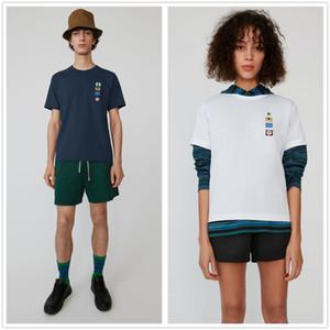 2019 새로운 여드름 동물 패치 자수는 페이스 마크 마이크로 칼라 코튼 반소매 셔츠 스마일 티 남성과 여성 인 핫 T 셔츠