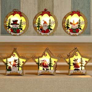 Decoração de Natal de madeira Forma de incandescência Ornamento da estrela redonda LED luminoso de Santa Snowman cervos pendurado pingente WX9-1717