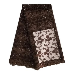 5 Yards african lace fabric with cord stones for aso ebi wedding party dresses