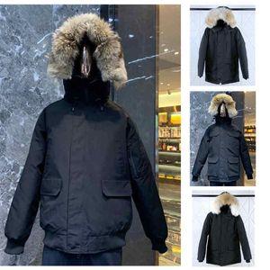 TOP мужские ветровки куртки с капюшоном Мех вниз пальто Бадж Размер ветровка Теплый Мужчины Zipper Толстые куртки пальто