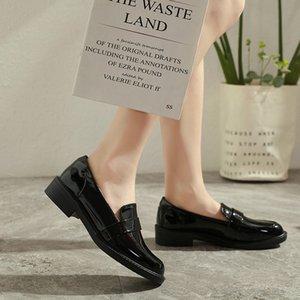 Japanned sapatos de couro mulher breve sólida rodada toe mocassins britânicos deslizar sobre femme apartamentos individuais, todos oxfords jogo loafers de design