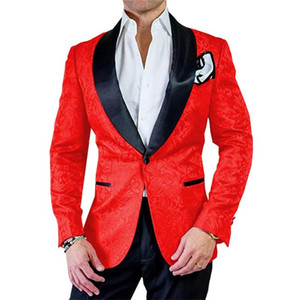 Custom Made Men Suits Shawl Lapel Best Men Pattern Red And Black Groom Tuxedos Wedding 2 Pieces ( Jacket+Pants+Tie ) E134