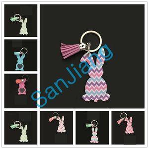 Cartoon Coniglio Tassel Portachiavi acrilico Easter Bunny anello portachiavi delle ragazze delle donne Borse Pendenti piega Dots Stampa Coniglio Portachiavi regalo E3902