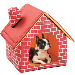 Pet House Red Kennels destacável Folding Flat Top Dog House Nest portátil Cat Dog Folding Bed Puppy Pet Shop WX9-1875