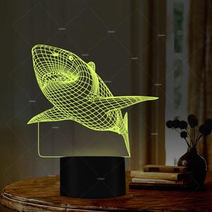 Pop2019 Fs - 2962 3D Cross Shark lumière Peculiar Chambre lampe de chevet Led Sept lumières colorées