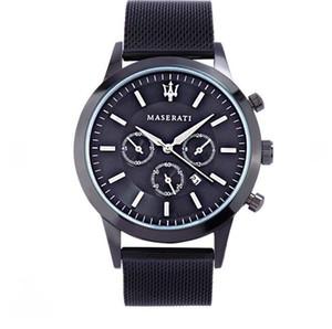 2019 마세라티 43mm 스테인레스 스틸 솔리드 잠금 장치 자동식 2813 Quartz Watch Big Date President Desinger Mens Watches