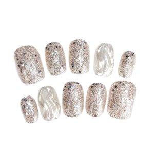 BESTNatural накладных ногтей Artificial Совет Маникюр фототерапия ногти Вода Ripple таблетка Silver Gradient Color Nail Patch для Най