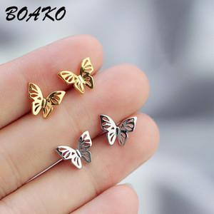 BOAKO Echt 925 Sterling Silber Ohrringe für Frauen Koreanische Nette Kleine Schmetterling Ohrstecker Modeschmuck Mädchen Geburtstagsgeschenke