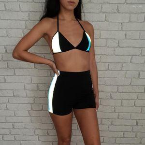 2 Stück Kleidung Sets Mode Anzüge Bekleidung Damen Designer 3M Reflective Tracksuits Sommerhalter Bras Shorts