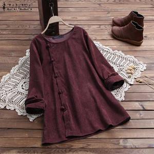 ZANZEA Vintage Corduroy Blouse 2020 Spring Long Sleeve Women Tunic Tops Loose Blusas Solid Blouses Femme Buttons Shirt Plus Size