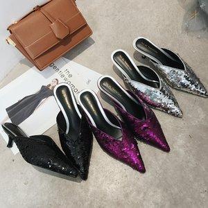Zapatilla Crystal2019 Paillette Sharp 19 Años Verano. Fino Alto Con Otra Ropa Medio Zapatilla Calidad de tono bajo Muller Zapatos frescos