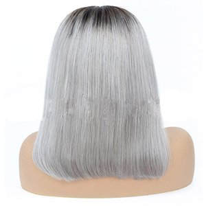 Peruviano dei capelli umani 1B / grigio 13x4 parrucca anteriore del merletto Bob parrucche Etero 1B / Rosa 13 Con 4 pizzo parrucca Bob anteriore 10-16inch