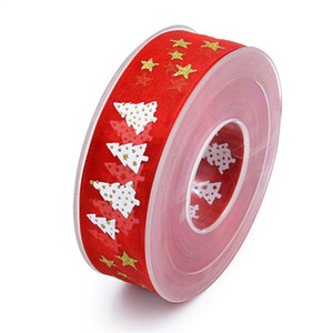 Gold foil ribbon five-pointed star holiday decoration gift packaging high-end printed Christmas tree tape 20 meters HP009