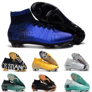 grapas de fútbol Mercurial Superfly mens V Ronalro FG botas de zapatillas de fútbol sala fútbol CR7 niños chicos Neymar botas rápido aumento Paquete barato
