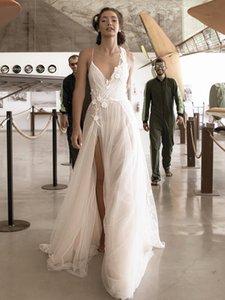 Chic High Split Wedding Dresses Dot Tulle Appliques Lace Floor Length A Line V Neckline Sexy 2021 Spring Bridal Gowns Vestidos De Noiva