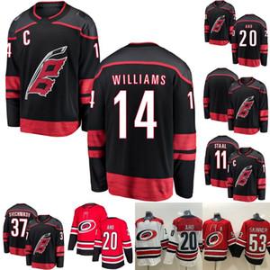 Mens Captain C 패치 14 저스틴 윌리엄스 캐롤라이나 허리케인 11 Staal 20 Sebastian Aho 37 Andrei Svechnikov 53 Jeff Skinner Hockey Jerseys