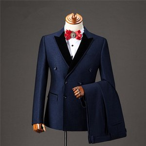 Classic Double-Breasted Wedding Tuxedos Slim Fit Suits For Men Groomsmen Suit Three Pieces Prom Formal Suits (Jacket+Pants) W103