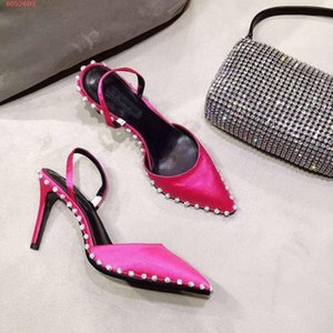 High-end atmosphe Women sandals High heel sandals are fashionable for women Black rose red and yellow heel strap trim with diamond body trim