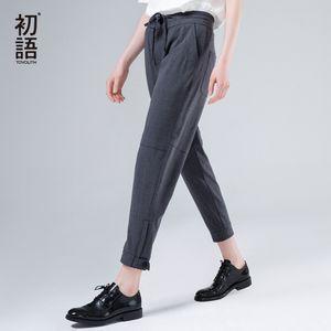 Drawstrings ile Toyouth Harem Pantolon Kadınlar 2020 Yaz Gevşek Pantolon Femme Orta Wasit Bilek uzunluğu Pantolon