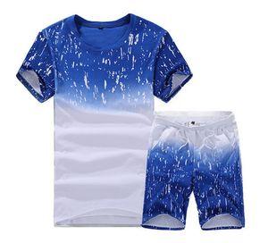Verão shirt dos homens de manga curta + Shorts terno masculino Sólidos Jersey respirável 2PC Top pequeno conjunto de fitness Sportsuits Set Homens CC4