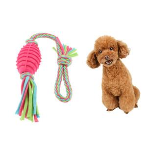 Puppy Dog algodão trançado corda nó Play Ball Mastigar Tug Toy limpeza dos dentes, reduzir o comportamento de mastigação Destructive