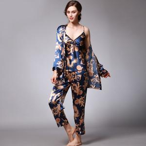 Qweek Seksi Uyku Salonu 3 Parça V Yaka Kadın Pijama Set Zarif Baskı Uzun Kollu Pijama Kadın Pijama Kadın GeceliklerMX190822