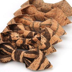 2019 Sharp Corner Cork Holz Bowties Männer-gestreiftes Geometrische Muster aus Holz Bogen-Krawatten für Männer Hochzeit Zubehör
