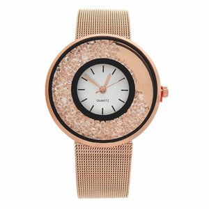 Produits Montres Trending Or Rose Mode Femmes Montres quartz en acier inoxydable Femmes cristal Diamantes