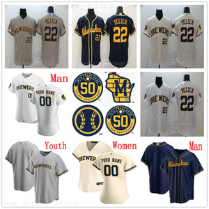 Personalizzato 2020 Nuovo baseball maglie 4 Paul Molitor 34 Rollie Fingers 11 Moustakas 21 Travis Shaw Jonathan Lucroy Josh Hader Uomo Donna Bambini