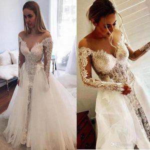2020 Delicate Illusion Long Sleeve Wedding Dresses Formal Appliqued Lace Bridal Gown Sheer Neck Vestidos De Novia With Detachable Train