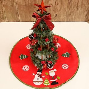 New 46cm Red Santa Claus Tree Skirt Gonne per alberi di Natale Christmas Snowman Tree Grembiule Decorazione Gonna non tessuta