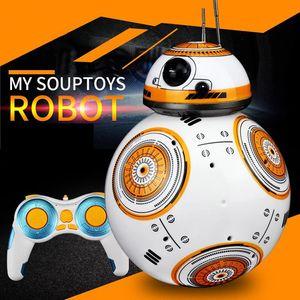 Estrella de la Serie BB-8 Inteligentes 2.4G RC Robot Juguetes, Cabeza de suspensión magnética, sonido, luces de colores, danza, autopatrol, Navidad Kid regalo de cumpleaños