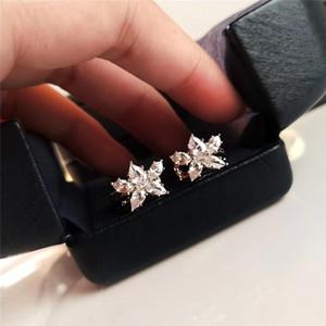 귀걸이 보석 S925 스털링 실버 작은 라운드 다이아몬드 꽃 귀걸이 여성 보석 선물 무료 배송