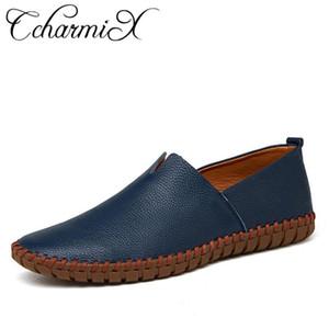 CcharmiX cuero genuino de la vaca para hombre de los holgazanes de la moda hecha a mano mocasines de cuero suave Blue Slip On zapato del barco de los hombres más tamaño
