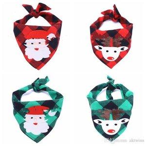 Christmas pet Bibs Bandana Elk Printed Pet Washable Decoration Scarf Handkerchiefs Pet Accessories Saliva Towel Pets Collar Napkin LXL695-1