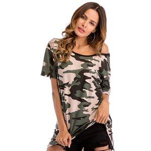 para mujer hembra camisa del tamaño diseñador camiseta camuflaje atractivo sin tirantes de manga corta T-camisa suelta grande