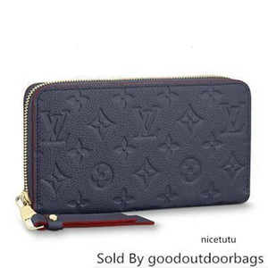 M62121 Zippy Wallet Embossing Navy Blue Real Caviar Lambskin Chain Flap Bag Long Chain Wallets Key Card Holders Purse Clutches Evening