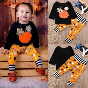 Neonati al dettaglio Abiti da neonato 2 PZ Set Costume di Halloween Manica lunga Pumpkin T-shirt Black T-shirt cartoon Pantaloni dei cartoni animati Designer Designer Vestiti Dancesuit Set