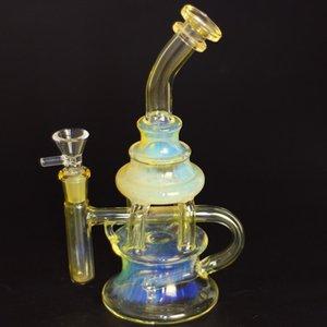 Vidro Bong Tubulação de Água Hookahs Honeycomb Recycler Exclusivo Smoked Silver Color Heady Art com Percolator 14mm Masculino