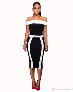 2019 Estilo de diseño mujer Vestidos de verano caliente atractivo elegante de las rayas negras blancas de Slash vestidos de cuello de Bodycon vestidos de mujer, fiesta
