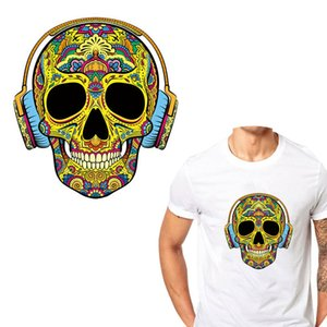 2019 Hot stamping skull pattern grade A powder transfer hot stamping flower stereo clothing patch